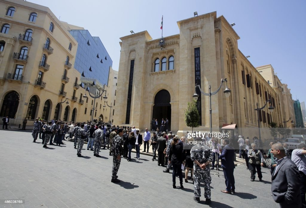 Lebanese security forces stand guard outside the parliament building in downtown Beirut as members of parliament gather to elect the new Lebanese...