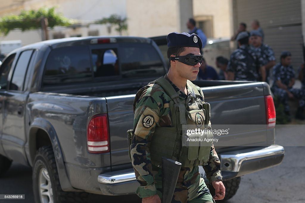 Lebanese security forces take security measures after a bomb blast occurred at Al Qaa town in Beqaa Governorate, Lebanon on June 27, 2016.