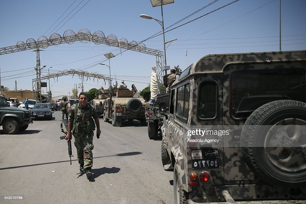 Lebanese security forces take security measures after a bomb blast occurred at Al Qaa town in Beqaa Governorate, Lebanon on June 27, 2016. At least 6 people killed and 13 people injured in bomb blast.