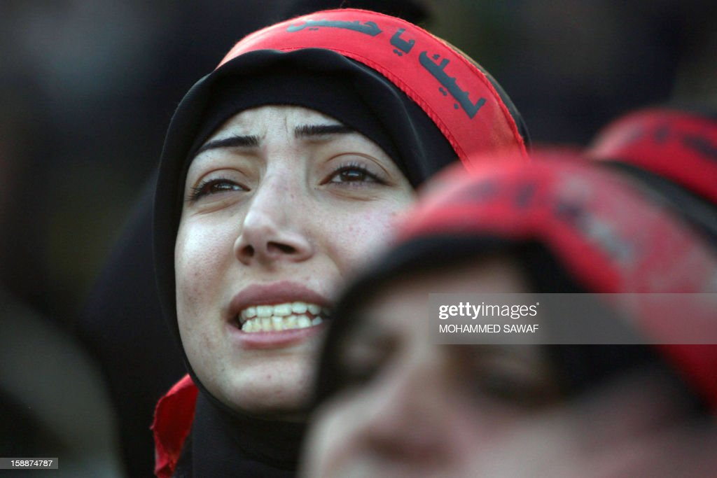 A Lebanese Shiite Muslim pilgrim takes part in the Arbaeen religious rituals which marks the 40th day after Ashura commemorating the seventh century killing of Prophet Mohammed's grandson, Imam Hussein, in the shrine city of Karbala, southwest of Iraq's capital Baghdad, on January 2, 2013.
