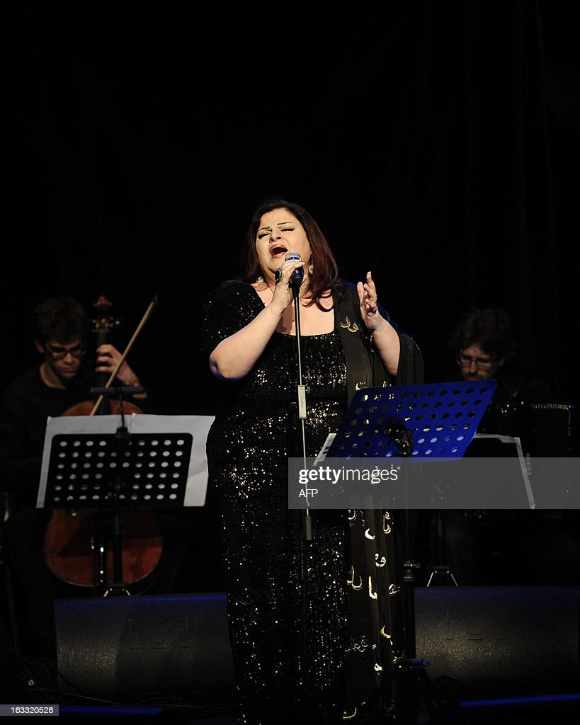 Lebanese singer Jahida Wehbe performs during a concert at cultural theater in Manama on March 7, 2013. The concert was organised as part of the Spring of Culture festival which is hosting a variety of cultural events in Bahrain over the months of March and April. AFP PHOTO/MOHAMMED AL-SHAIKH