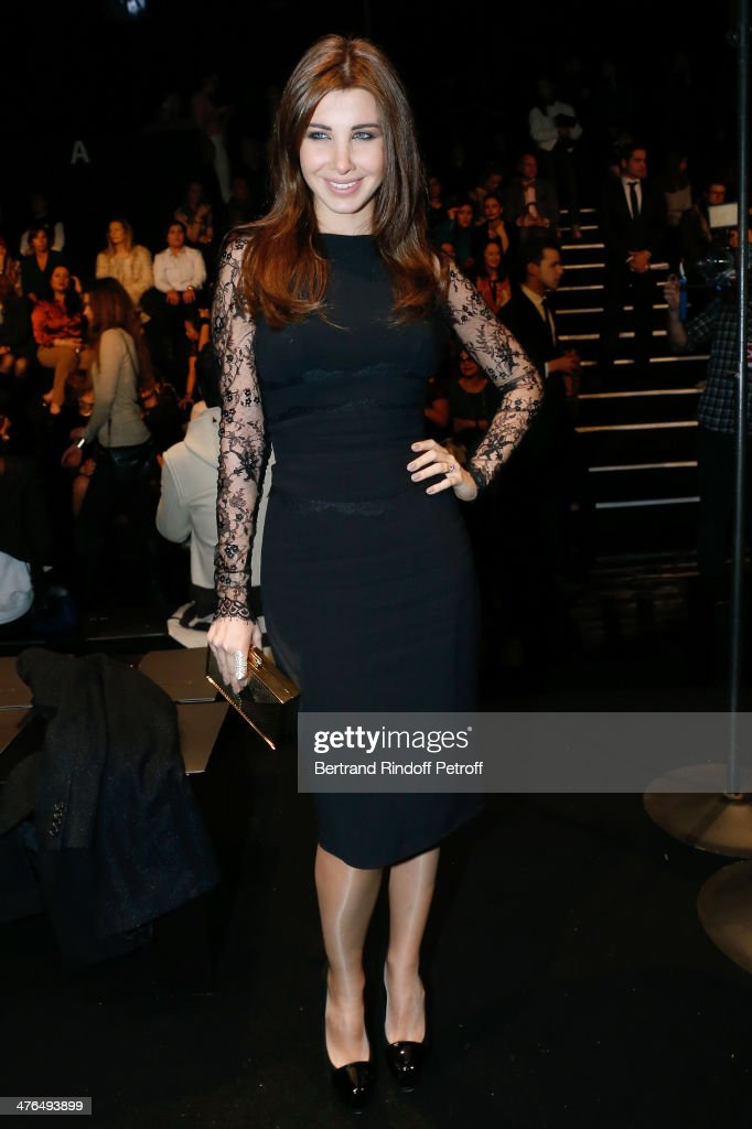 Lebanese singer <a gi-track='captionPersonalityLinkClicked' href=/galleries/search?phrase=Nancy+Ajram&family=editorial&specificpeople=6851723 ng-click='$event.stopPropagation()'>Nancy Ajram</a> attends the Elie Saab show as part of the Paris Fashion Week Womenswear Fall/Winter 2014-2015 on March 3, 2014 in Paris, France.