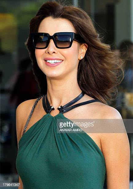 Lebanese singer Nancy Ajram is pictured during the recording of her new video clip in Beirut on September 5 2013 AFP PHOTO/ANWAR AMRO