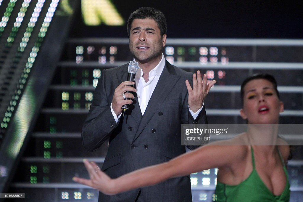 Lebanese singer Wael Kfoury performs during the final of Star Academy, a highly successful pan-Arab television show, produced by Lebanese Broadcasting Corporation International (LBCI), at its studios in Adma, north of Beirut, late on June 4, 2010.