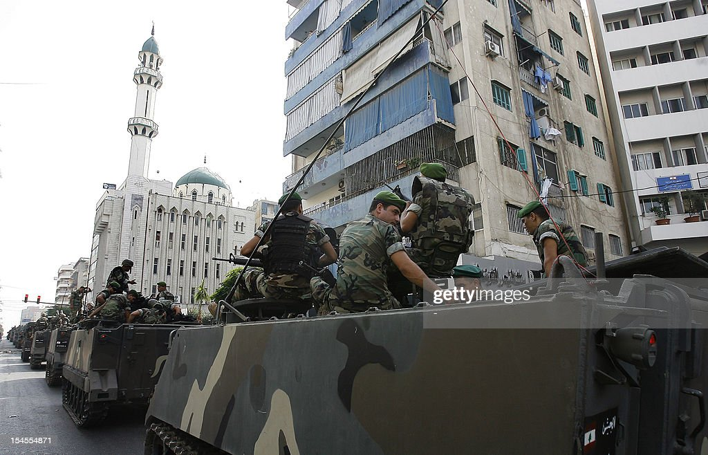 Lebanese soldiers patrol the Corniche al-Mazraa neighbourhood of the capital Beirut, on October 22, 2012. The army said it was determined to restore order in Lebanon, roiled by growing political tensions linked to Syria after a top policeman was murdered and former premier Rafiq Hariri called for the government to step down. AFP PHOTO / STR
