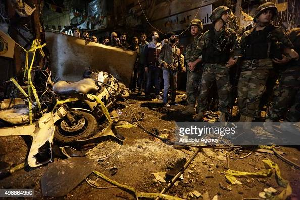 Lebanese soldiers take security measures after two explosions at Dahieh known as Hezbollah stronghold South Beirut Lebanon on November 12 2015 At...