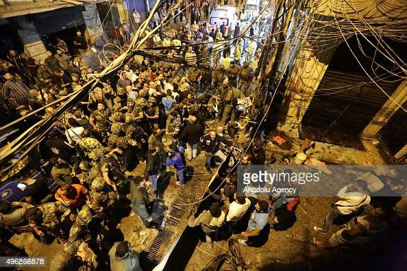 Lebanese soldiers take security measures after two explosions at Dahieh know as Hezbollah stronghold South Beirut Lebanon on November 12 2015 At...