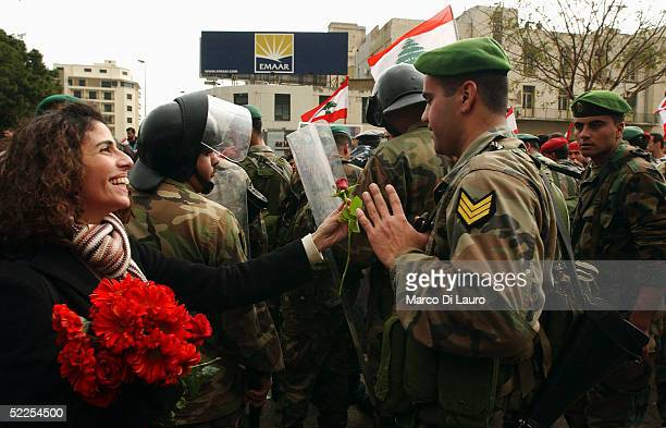 Lebanese woman offers a red rose to a Lebanese Army Soldier trying to prevent the crowd participating in an antiSyrian demonstration on February 28...