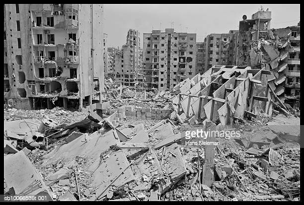 Lebanon, Beirut, Buildings destroyed by bombs (B&W)
