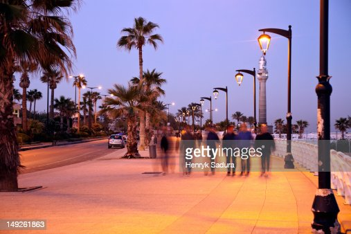 Lebanon, Beirut, Corniche waterfront at sunrise