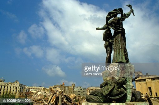 Lebanon, Beirut, Martyr's statues in demolished Martyr's Square : Stock Photo