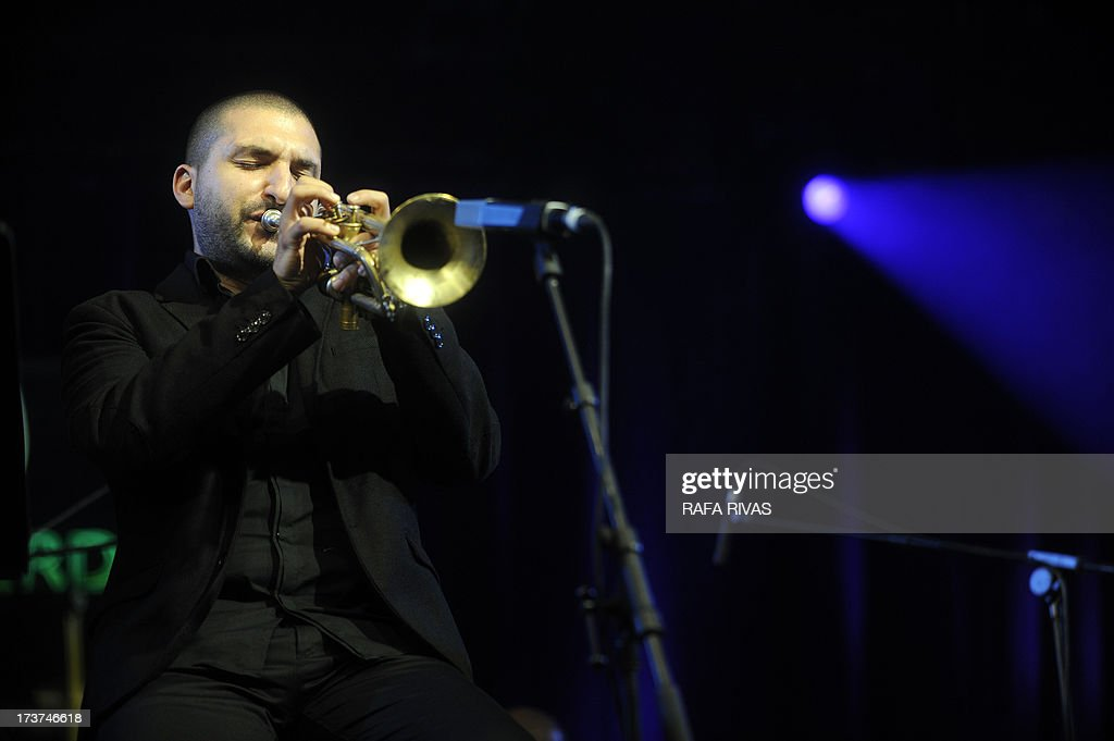 Lebanon born French trumpet player Ibahim Maalouf performs during the 37th Vitoria Jazz Festival on July 17, 2013, in the Northern Spanish Basque city of Vitoria.
