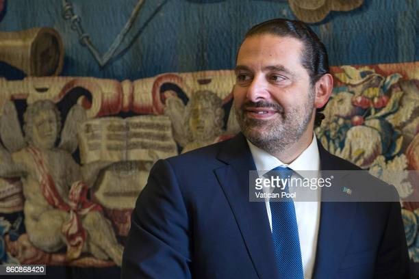 Lebanon Prime Minister Saad Hariri attends a private audience with Pope Francis at the Apostolic Palace on October 13 2017 in Vatican City Vatican...