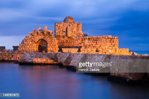 Lebanon, Sidon, Sidon Sea Castle at dusk