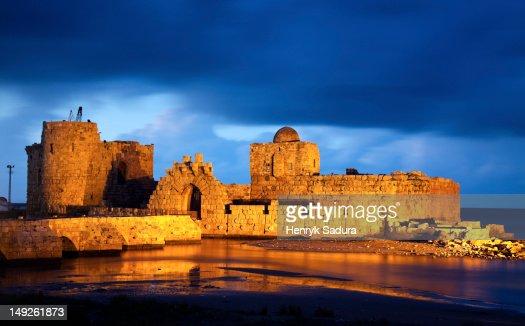 Lebanon, Sidon, Sidon Sea Castle at dusk