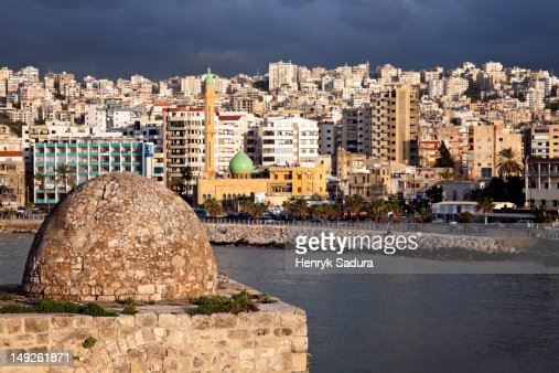 Lebanon, Sidon, Sidon Sea Castle with city panorama