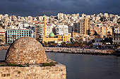 Lebanon, Sidon, Sidon Sea Castle with city panorama