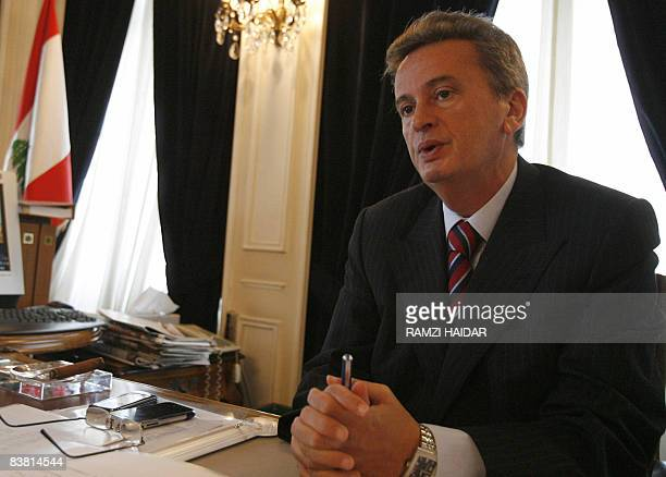 MOUSSAOUI Lebanon's Central Bank governor Riyad Salameh speaks during an interview with AFP at his office in Beirut on November 21 2008 Lebanon for...