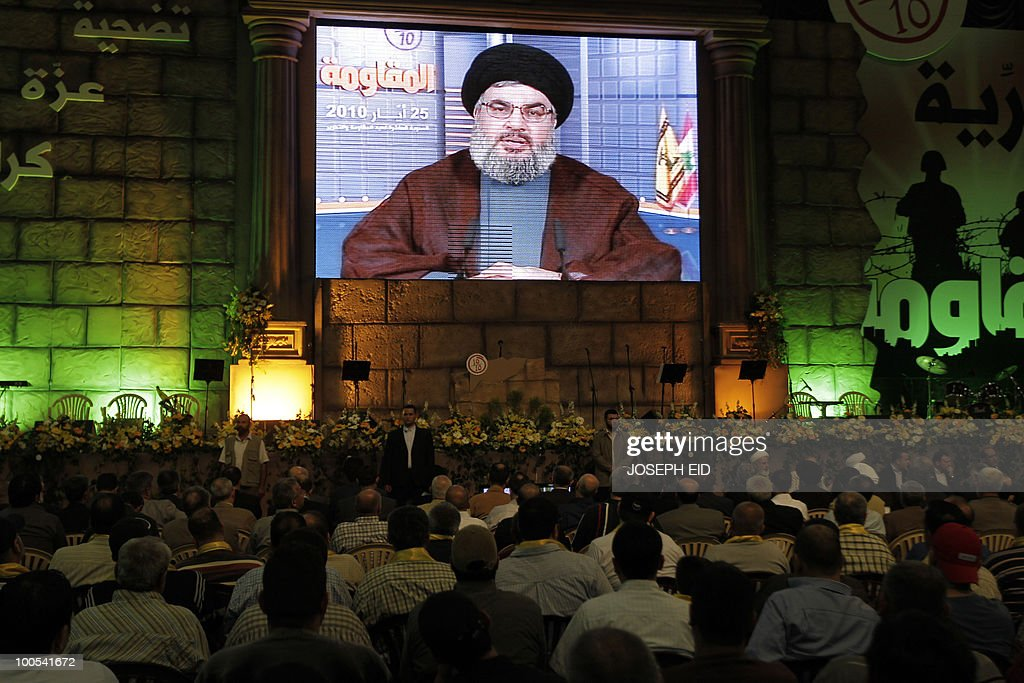 Lebanon's Hezbollah leader Hassan Nasrallah delivers a televised speech during a ceremony marking the 10th anniversary of Israel's withdrawal from southern Lebanon in southern Beirut on May 25, 2010. Israel ended its 22-year occupation of neighbouring Lebanon on May 24, 2000.