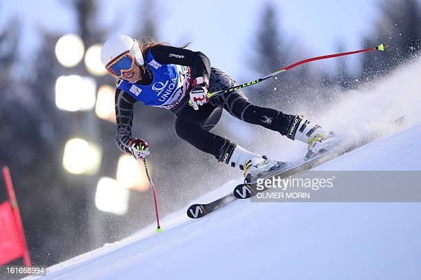 Lebanon's Jackie Chamoun skis during the Women's Giant slalom first run at the 2013 Ski World Championships in Schladming Austria on February 14 2013...