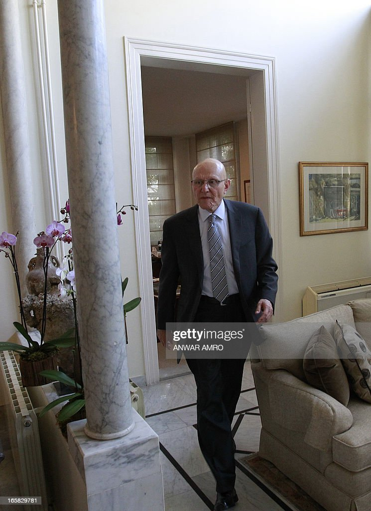 Lebanon's newly named Prime Minister Tammam Salam arrives for an interview with AFP's journalists during following his official appointment, on April 6, 2013 at his home in the Lebanese capital Beirut. Salam's appointment comes two weeks after Najib Mikati resigned and effectively brought down his Hezbollah-dominated government.