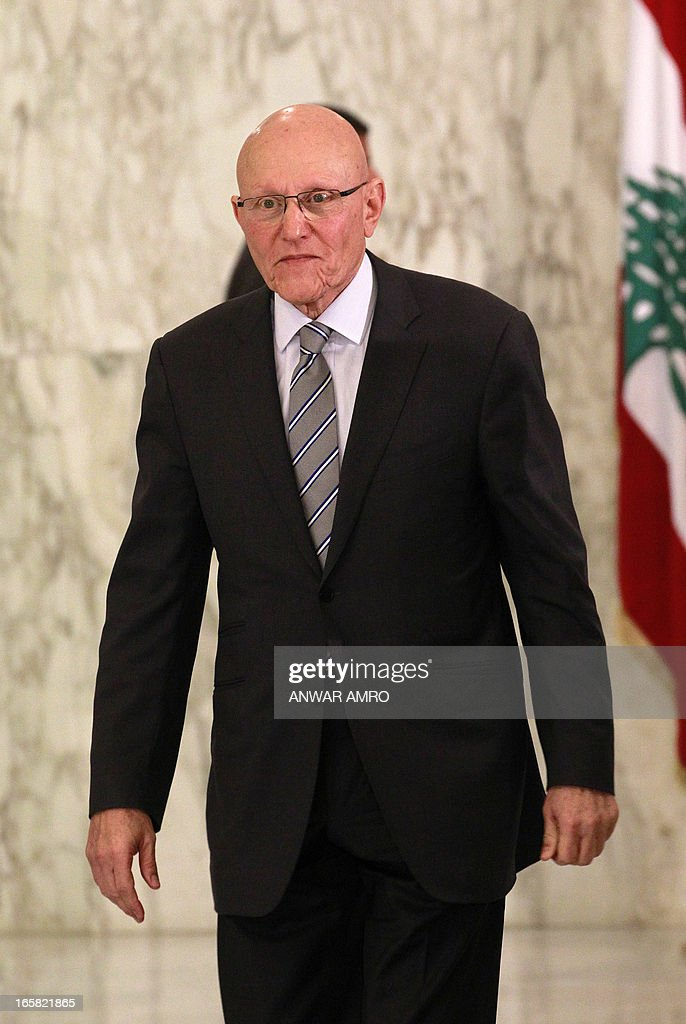 Lebanon's newly named Prime Minister Tammam Salam is seen following his official appointment by President Michel Sleiman at the presidential palace in Baabda east of the Lebanese capital Beirut on April 6, 2013. Salam's appointment comes two weeks after Najib Mikati resigned and effectively brought down his Hezbollah-dominated government.