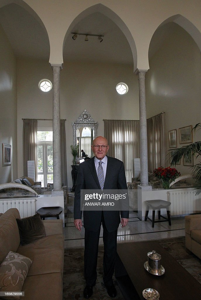 Lebanon's newly named Prime Minister Tammam Salam poses during an interview with AFP's journalists following his official appointment, on April 6, 2013 at his home in the Lebanese capital Beirut. Salam's appointment comes two weeks after Najib Mikati resigned and effectively brought down his Hezbollah-dominated government. AFP PHOTO / ANWAR AMRO