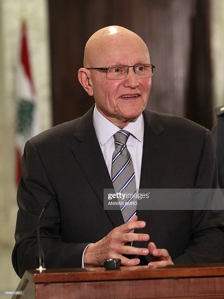 Lebanon's newly named Prime Minister Tammam Salam speaks to the press following his official appointment by President Michel Sleiman at the presidential palace in Baabda east of the Lebanese capital Beirut on April 6, 2013. Salam's appointment comes two weeks after Najib Mikati resigned and effectively brought down his Hezbollah-dominated government.