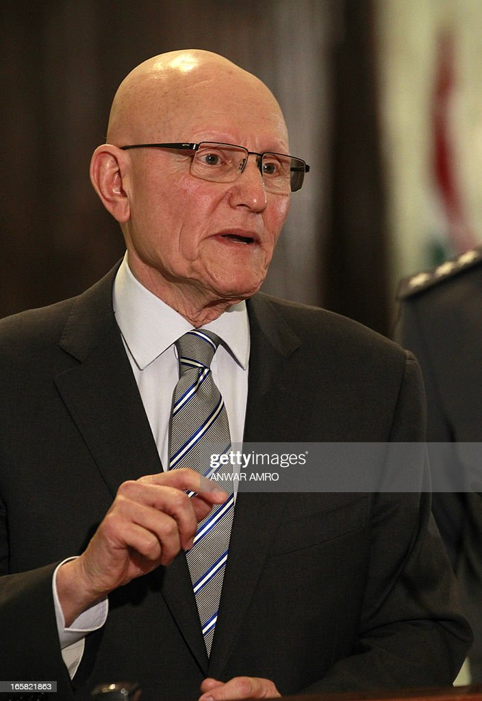 Lebanon's newly named Prime Minister Tammam Salam speaks to the press following his official appointment by President Michel Sleiman at the presidential palace in Baabda east of the Lebanese capital Beirut on April 6, 2013. Salam's appointment comes two weeks after Najib Mikati resigned and effectively brought down his Hezbollah-dominated government. AFP PHOTO / ANWAR AMRO