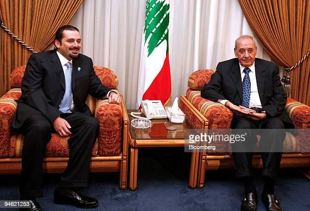 Lebanon's parliament majority leader Saad alHariri left meets with Lebanese parliament speaker Nabih Berri in the Parliament in Beirut Lebanon on...