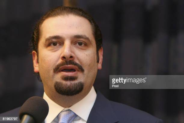Lebanon's parliamentary majority leader Saad Hariri speaks during a press conference at the Iraqi Prime Minister's office on July 17 2008 in Baghdad...