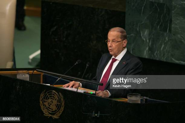 Lebanon's President General Michel Aoun arrives ahead of his address at the UN General Assembly at the United Nations on September 21 2017 in New...