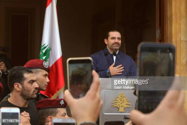 Lebanon's Prime Minister Saad Hariri makes a public appearance at his home 'Beit alWasat' November 22 2017 in Beirut Lebanon Hariri arrived early...
