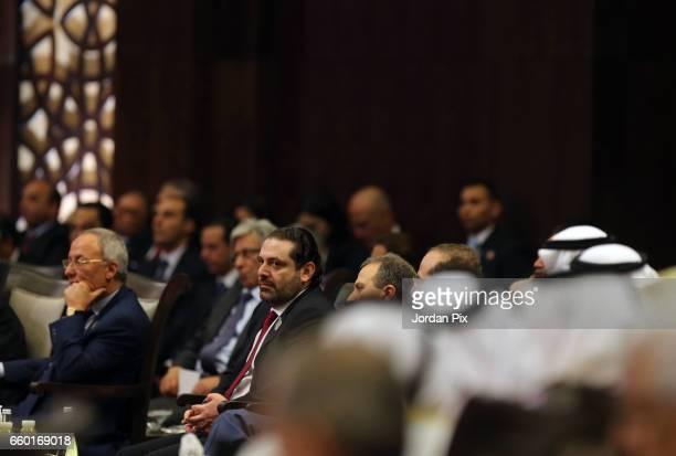 Lebanon's prime minister Sheikh Saad AlHariri attends during the Arab League summit in the Jordanian Dead Sea resort of Sweymah Jordan March 29 2017...