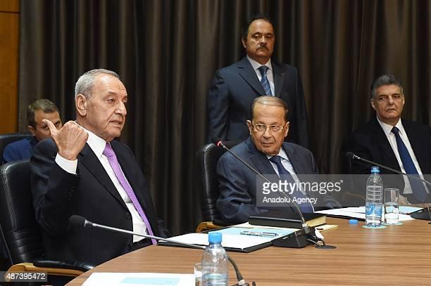 Lebanon's Prime Minister Tammam Salam Lebanon's Parliament Speaker Nabih Berri and Free Patriotic Movement's leader and former General Michel Naim...
