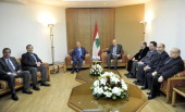Lebanon's prime ministerdesignate Najib Mikati meets with former prime minister Michel Aoun and other members of his parliamentary bloc at the...