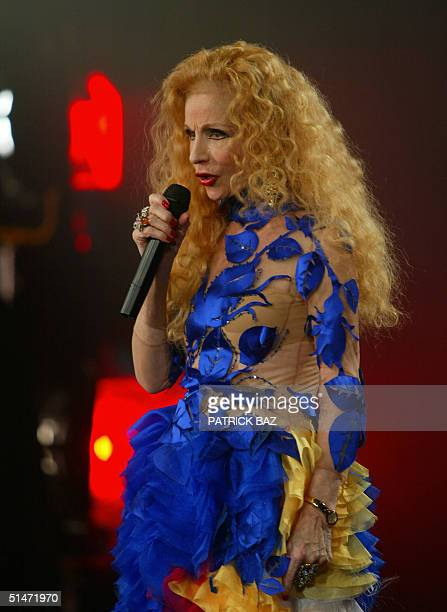 Lebanon's veteran singer and Arab star Sabah performs on the set of the new movie 'The Autobus' in the village of Baaqlin in the Shouf mountains...
