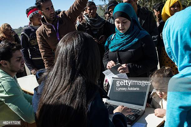 Lebanon/Syrian refugees/Blat Marjaoun Syrian refugees from the southern border areas gather in the village of Blat in Marjaoun to register with UNHCR...