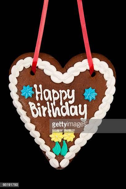 A lebkuchen with Happy Birthday written on it