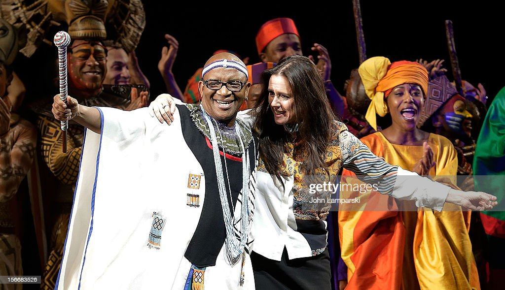 Lebo M, <a gi-track='captionPersonalityLinkClicked' href=/galleries/search?phrase=Julie+Taymor&family=editorial&specificpeople=227924 ng-click='$event.stopPropagation()'>Julie Taymor</a> and cast of Lion King attend the 'The Lion King' On Broadway 15th Anniversary Celebration at the Minskoff Theatre on November 18, 2012 in New York City.