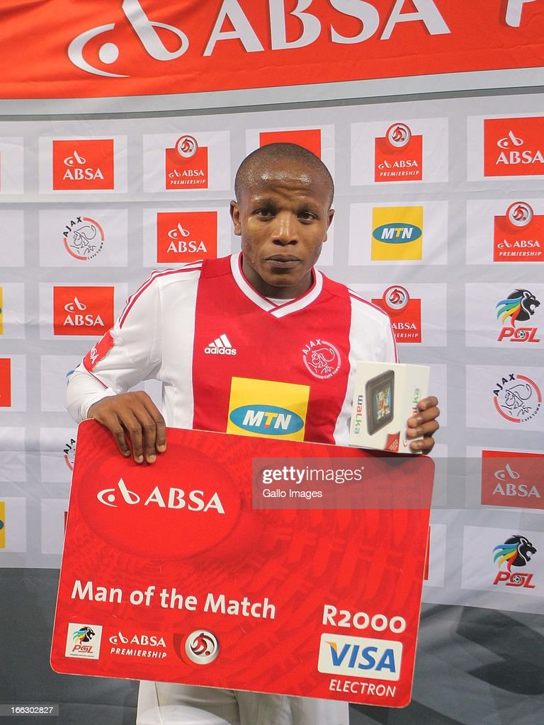 Lebogang Manyama of Ajax CT receives the man of the match award during the Absa Premiership match between Ajax Cape Town and Orlando Pirates from Cape Town Stadium on April 10, 2013 in Cape Town, South Africa.