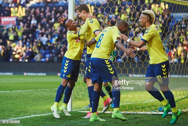 Lebogang Phiri Gustaf Nilsson Rodolph Austin and Hany Mukhtar of Brondby IF celebrate after scoring their first goal during the Danish Alka Superliga...
