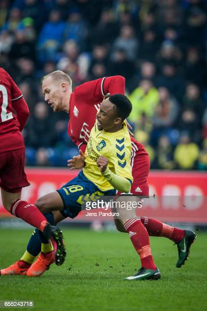 Lebogang Phiri of Brondby IF against a player from Lyngby the Danish Alka Superliga match between Brondby IF and Lyngby BK at Brondby Stadion on...