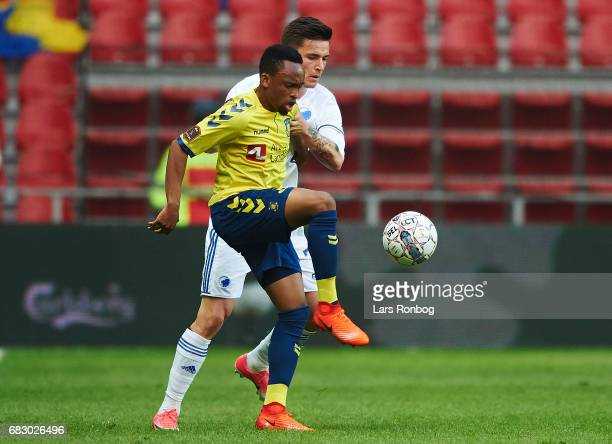 Lebogang Phiri of Brondby IF and Benjamin Verbic of FC Copenhagen compete for the ball during the Danish Alka Superliga match between FC Copenhagen...