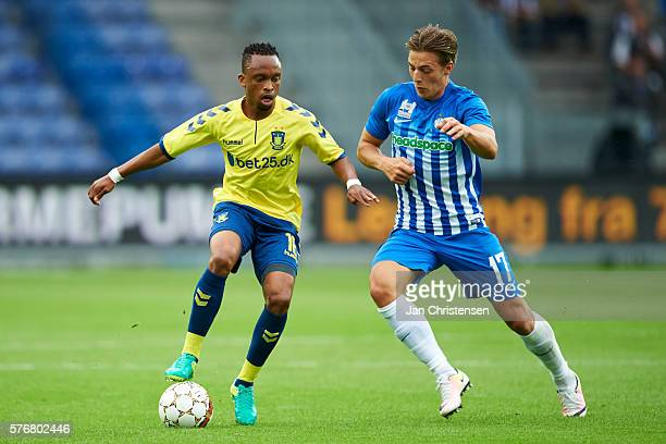 Lebogang Phiri of Brondby IF and Casper Nielsen of Esbjerg fB compete for the ball during the Danish Alka Superliga match between Brondby IF and...