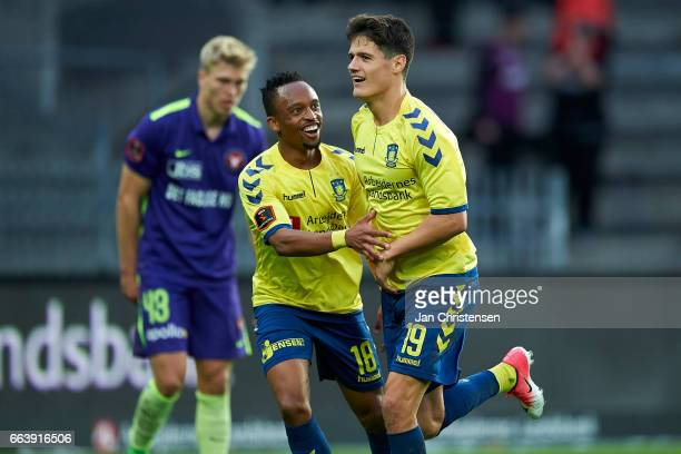 Lebogang Phiri of Brondby IF and Christian Norgaard of Brondby IF celebrates the 31 goal from Christian Norgaard during the Danish Alka Superliga...