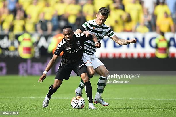 Lebogang Phiri of Brondby IF and Jonas Kamper of Viborg FF compete for the ball during the Danish Alka Superliga match between Viborg FF and Brondby...