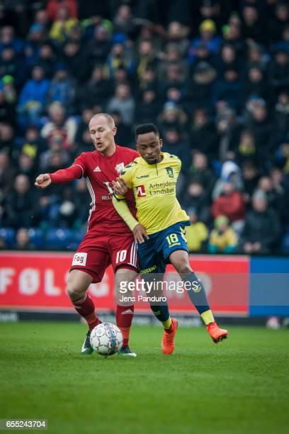 Lebogang Phiri of Brondby IF and Mikkel Rygaard of Lyngby BK the Danish Alka Superliga match between Brondby IF and Lyngby BK at Brondby Stadion on...