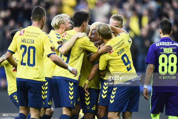Lebogang Phiri of Brondby IF and teammates celebrates his 10 goal during the Danish Alka Superliga match between Brondby IF and FC Midtjylland at...
