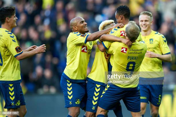 Lebogang Phiri of Brondby IF and teammates celebrating his 10 goal during the Danish Alka Superliga match between Brondby IF and FC Midtjylland at...